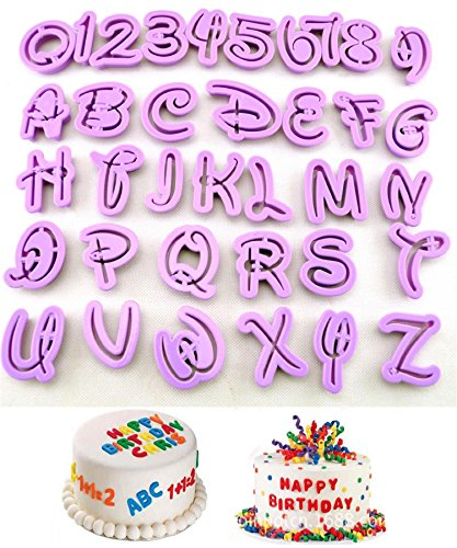KOOTIPS Set of 36pcs DIY Letter Number Cake Mould Fondant Sugarcraft Cookie Plunger Cutter Mold Decorating Tools (Cutters Cookie Alphabet Disney)