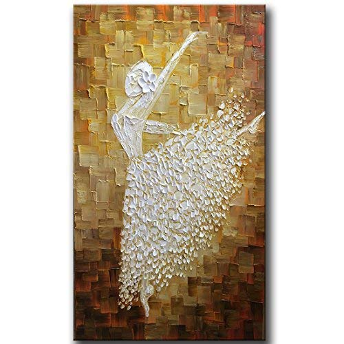 YaSheng Art - Hand-Painted Contemporary Art Ballet Girl Dancers Oil Painting On Canvas Texture Palette Knife Abstract Art Paintings Modern Home Interior Decor Wall Art Picture Ready to Hang 24x48inch