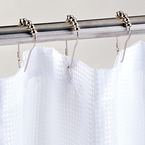 InterDesign Roller Shower Curtain Rings/Hooks-Set of 12 Satin Nickel Rollerz Carded, Piece