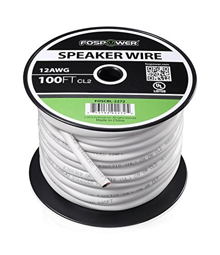 FosPower 12 Gauge Speaker Wire 100FT, CL2 Rated 12AWG 2-Conductor In-Wall Speaker Wire Cable, Oxygen-Free Pure Copper - UL Listed for In-Wall Installation ()