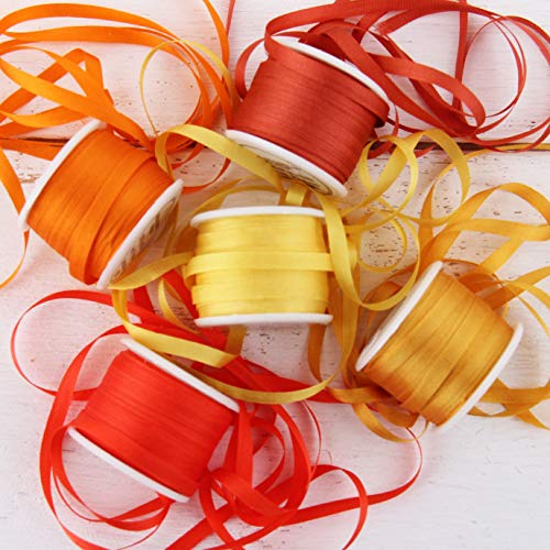 Threadart 4mm Silk Ribbon Set - Orange Shades - Five Spool Collection - 100% Pure Silk Ribbon - 10m (11yd) Spools - 55 Yards of Ribbon - Orange Silk Cloth