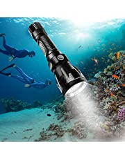 BlueFire Scuba Dive Flashlight 1000 Lumen CREE XM-L2 Professional Diving Flashlight LED Submarine Light Scuba Safety Lights Waterproof Underwater Torch for Outdoor Under Water Sports