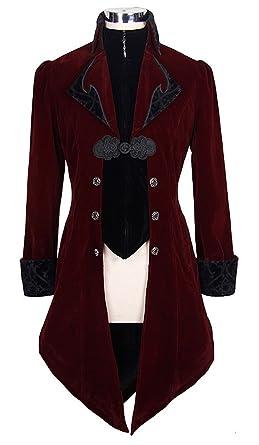 Veste Homme Longue Rouge et Noire Aristocrate en Velours avec Broderies et  col - Man S aacb6bc6a8ec