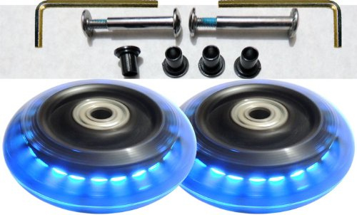 Camelian Luggage Lighted Wheel Set - Blue Color Lights -76x24mm Wheel Size