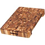 Teak Carving Board - Rectangle Cutting Board With Hand Grip And Bowl Cut Out (20 x 14 x 2.5 in.) - By Teakhaus
