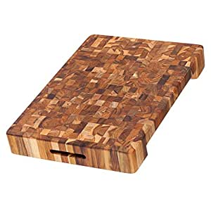 Teak Cutting Board - Rectangle Carving Board With Hand Grip And Bowl Cut Out (20 x 14 x 2.5 in.) - By Teakhaus