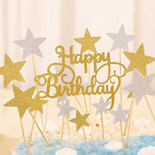 Joyclub Happy Birthday Monogram and Gold Silver Star Cake Cupcake Decorations Toppers Picks Supplies, 41 Pcs Glitter Party Cake Decorations