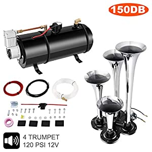 Hicient 150DB Train Air Horn Kit, 4 Trumpet Train Horn Kit with 120 PSI Air Compressor for Any 12V Vehicles Trucks Trains Boats Cars Vans (Black)