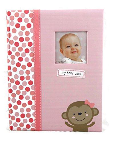 Carter's Baby Girl Memory Book - Pink, Polka-dots & Monkey 5 Year Baby Journal