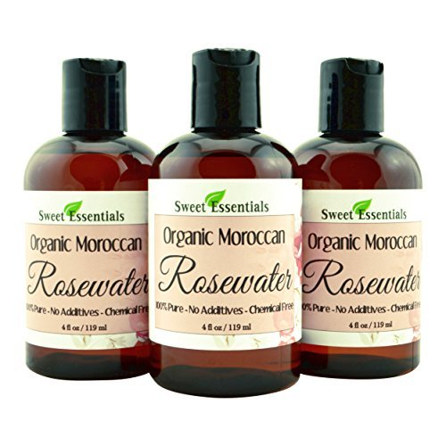 PACK of 3 Premium Organic Moroccan Rose Water - 4oz - Imported From Morocco - 100% Pure (Food Grade) No Oils or Alcohol -...