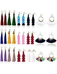 Tassel Earrings for Women Fashion - 15 Pack Colorful Drop Hook Fringe Earrings Set Tiered Thread Long Layered Ball Dangle Hoop Tassle Earrings Jewelry for Valentine Birthday Party Gift