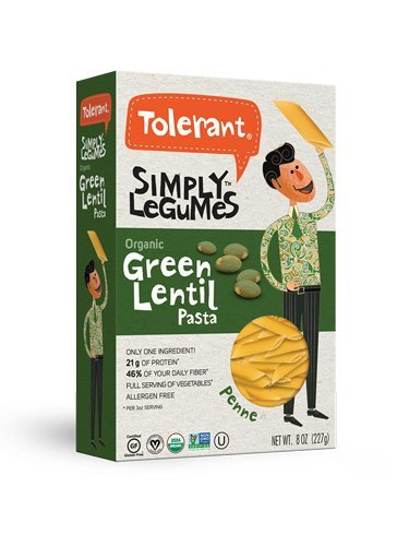 Tolerant Organic Gluten Free Green Lentil Penne Pasta, 8 Ounce Box (Pack of 1), Plant Based Protein, Vegan Pasta, Single Ingredient Protein Pasta, Whole Food, Clean Pasta, Low Glycemic Index Pasta