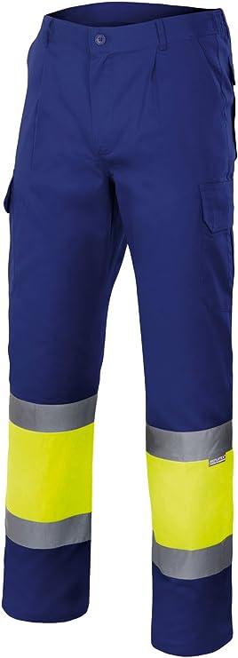 Velilla 156/C140/TS Pantalón de alta visibilidad, Azul y amarillo fluorescente, S