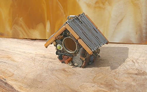 Small Hanging Birdhouse with Industrial Theme Nail Roof Nuts & Bolts Keys and Mixed Media Decorative Birdhouse