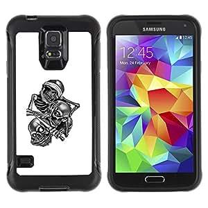 ZAKO CASES / Samsung Galaxy S5 SM-G900 / Skull Gang B&W / Robusto Prueba de choques Caso Billetera cubierta Shell Armor Funda Case Cover Slim Armor
