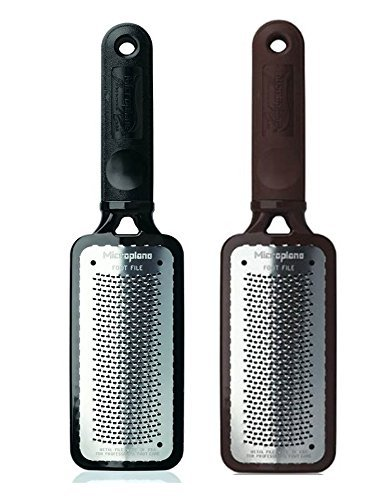 Microplane Colossal Pedicure Foot Rasp, Large Surface Foot File, 1 Brown and 1 Black, No Soak Needed, Eliminate Thick Callused Skin, Professional Foot Care for Smooth Feet