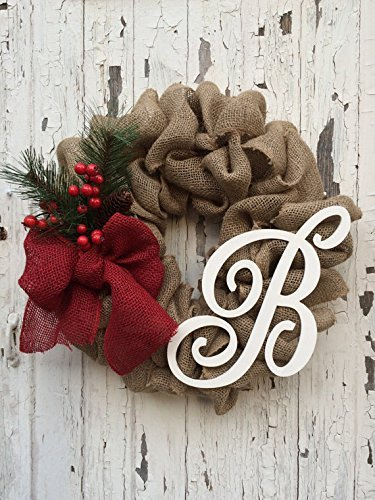 personalized shabby chic burlap wreath christmas door decor script monogram burlap bubble wreath - Christmas Burlap Wreath
