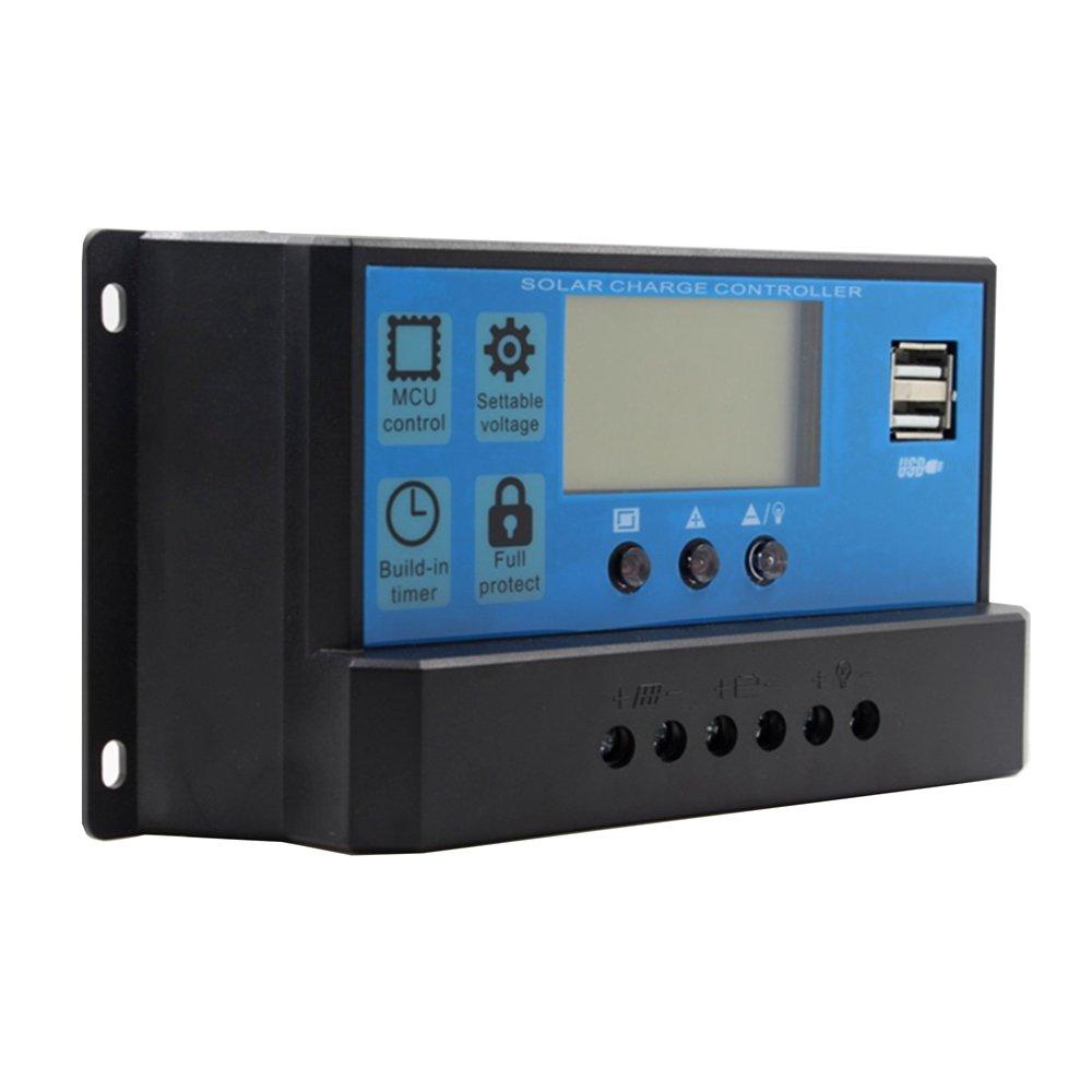 Y&H 40A Solar Charge Regulator 12V/24V Solar Charge Controller Battery Voltage Intelligent Regulator USB Port 5V Light Timer Control LCD Display
