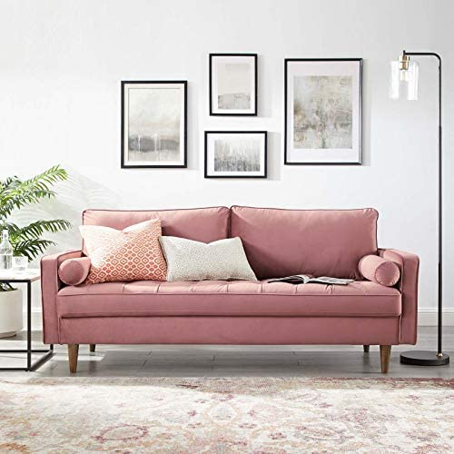 Modway Valour Performance Velvet Upholstered Tufted Sofa, Dusty Rose