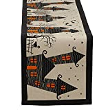 DII 100% Cotton, Spooky Scary Haunted House Halloween Table Runner, 14 by 72-Inch