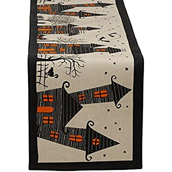 """DII 100% Cotton, Spooky, Scary, Haunted House 14 x 72"""" Halloween Table Runner"""
