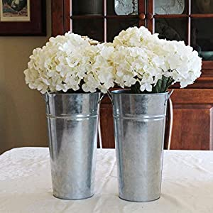 Arbor Lane Metal Flower Vase -13 Inch - Rustic French Bucket - Farmhouse Style - Set of 2 24