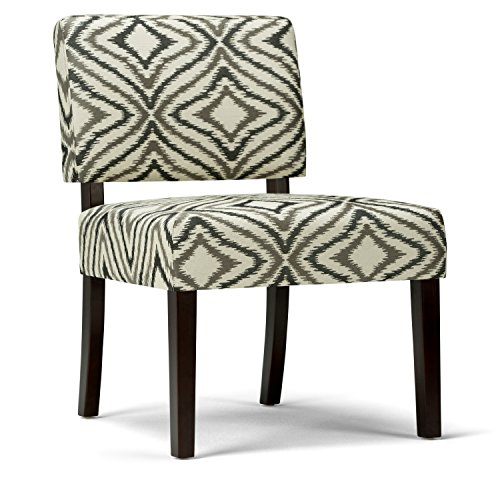 Simpli Home Virginia Accent Chair, Grey Patterned