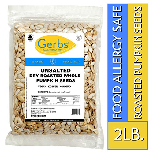 Unsalted Whole Pumpkin Seeds, 2 LBS by Gerbs - Top 14 Food Allergy Free & Non GMO - Vegan, Keto Safe & Kosher - Pepitas grown in USA ()