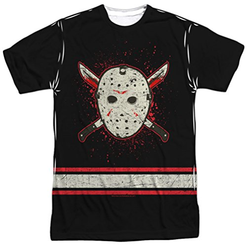 Friday the 13th Jason Voorhees Jersey Sublimation T-shirt (Front & Back), 3XL]()
