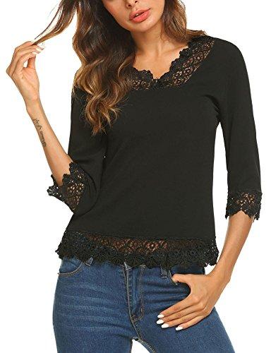 Meaneor Women's Casual Lace Splice Flare Sleeve Flowy Loose Peplum Boho Blouse T-Shirt Tops Black M 3/4 Sleeve Lace Skirt