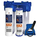 """Aquaboon 2-Stage Universal 10'' Valve-in-Head Whole House Water Filtration System, Includes Sediment & Pleated Sediment Filter Cartridges (3/4"""" Inlet/Outlet Brass Port)"""