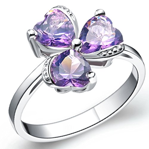 FENDINA Womens Silver Plated Synthetic Triple Hearts Amethyst CZ Diamond Crystal Wedding Engagement Bands Ring Girlfriend Promise Rings for Her Size 8
