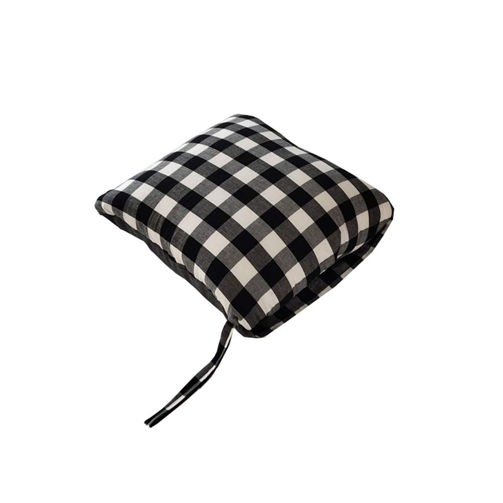 NIUYAN Pillow Quilt, Cotton Washed Cotton Pillow is Dual-use Nap Office Summer Cool Folded Blanket Air Conditioner is Car Portable Pillow (Color : Black and White) by NIUYAN