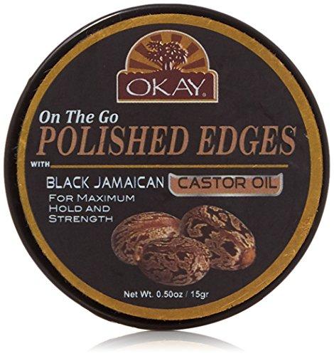 Okay polished edges with black jamaican castor oil on the go 0.50 fluid ounce, Brown, 0.5 Fluid ()