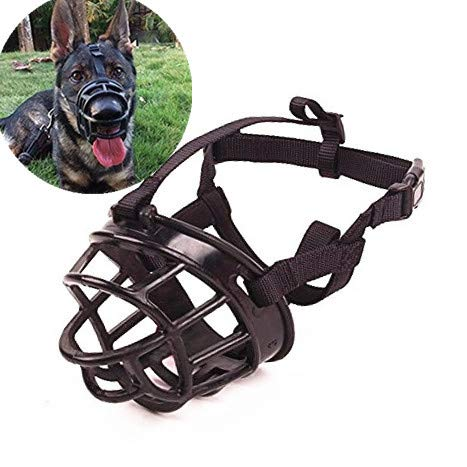 Adjustable Muzzle - JWPC Adjustable Anti-Biting Dog Soft Silica Gel Muzzle, Breathable Safety Pet Puppy Muzzles Mask for Biting/Barking/Chewing,Black 5