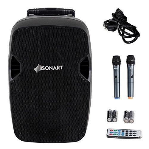 Sonart Powered Speaker, 800W 2-Way Portable Loud Speaker With Wireless Microphone (15)
