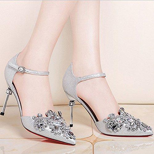 en Femmes Silver Mode Chaussures Soirée Jokers Aiguilles Chaussures Strass Talons de Talons DKFJKI Pompes pour Robes Escarpins Hauts Pompes WHYnqwUSEw