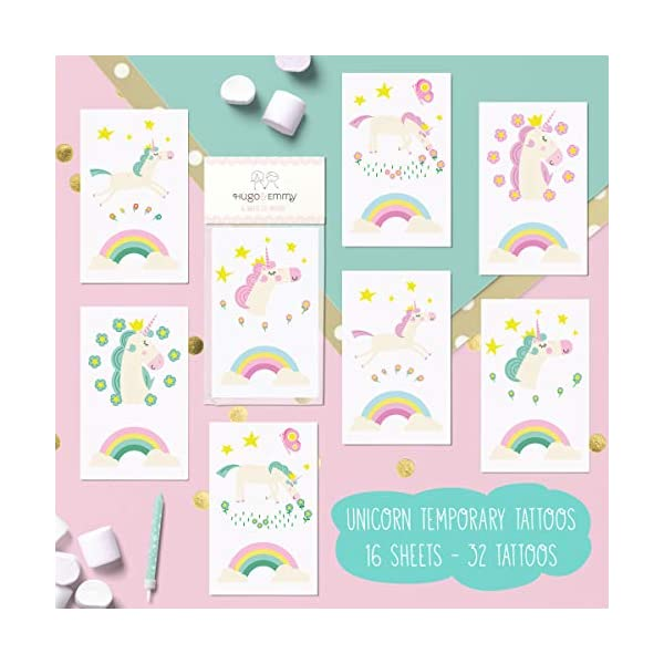 Unicorn Temporary Tattoos for Kids - Unicorn Party Favors, Birthday Decorations and Supplies - Non-toxic and Waterproof - Pack of 16 sheets (32 Fake Tattoos) 4