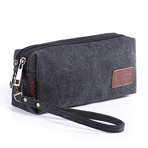 G-flex Canvas (Canvas Zipper Wristlet Coin Change Bag, Cell Phone Purse Pen Pencil Stationery)