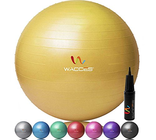 Cheap Wacces Professional Exercise, Stability and Yoga Ball for Fitness, Balance & Gym Workouts- Anti Burst – Quick Pump Included (Yellow, 65 cm)