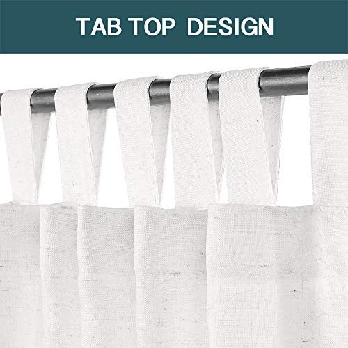 FantasDecor White Linen Curtains Natural Linen Blended Curtains Tab Top Curtains Privacy Added Window Treatments Drapes
