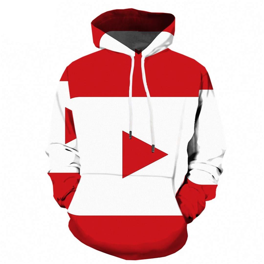 WUJIU Unisex I Love You 3D Digital Print Pullover Hoodie Hooded Sweatshirt Sweaters