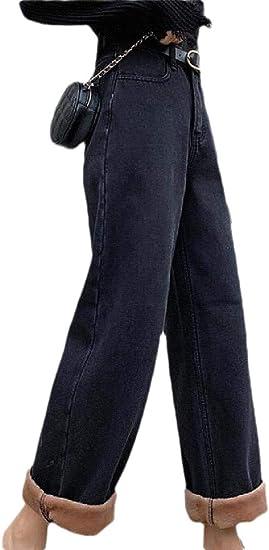 chenshiba-JP 女性カジュアル ルーズ ハイ ウエスト フリース ライニング ジーンズ ワイド レッグ パンツ