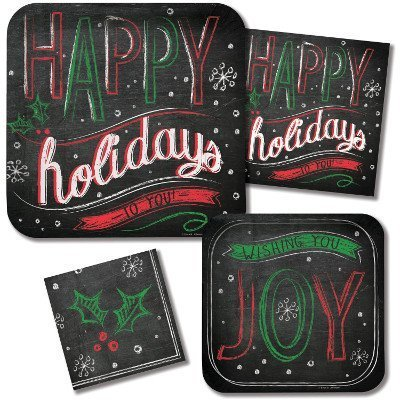 Happy Holidays Paper Plates And Napkins Set -