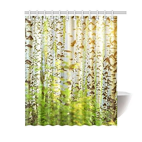 InterestPrint Home Bath Decor Fabric Green Birch Tree Shower Curtain Hooks  60 X 72 Inches