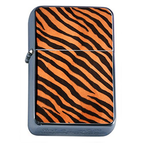 (Wild Animal Prints Tiger Flip Top Oil Lighter S7 Smoking Cigarette Smoker Includes Silver Case)