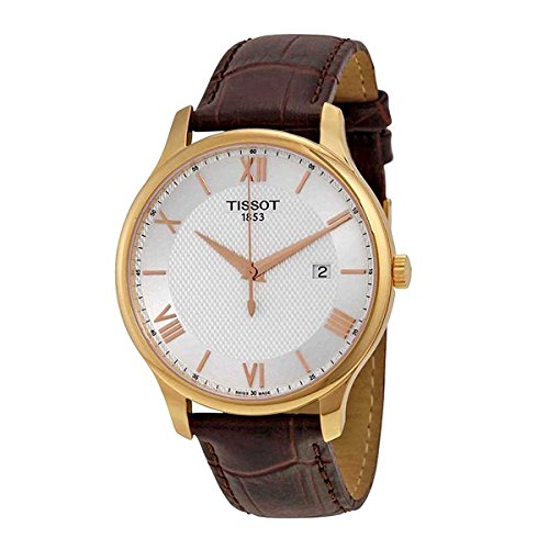 Tissot-T0636103603800-Tradition-Leather-Mens-Watch-Silver-Dial