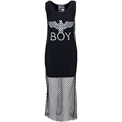 BL1169 DAMEN BOY JERSEY LONDON KLEID Schwarz LANGES AXXqrgnO8