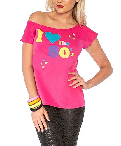 Womens I Love The 80s T-shirt Outfit Ladies Pop Star Top Fancy Dress Costume#(Pink I Love The 80s Print#Small(US (80s Womens Fancy Dress)