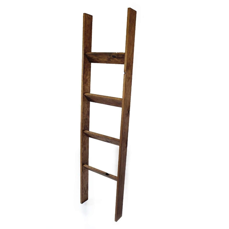 Wall Leaning Ladders Rustic Blanket Ladder,Farmhouse Blanket Holder Rack Honest Blanket Ladder Wooden Decorative Ladder Shelf Stand,Grey